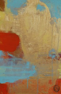 Abstract in Blue, Orange and Gold