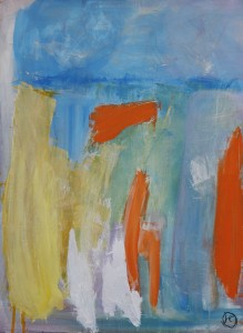 Abstract in Orange with White